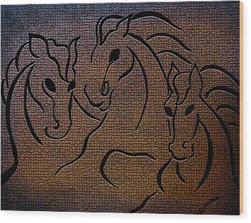 Horses Of Fire Wood Print