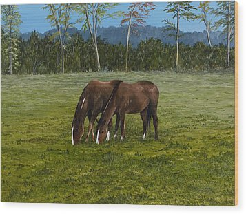 Horses Of Romance Wood Print by Mary Ann King
