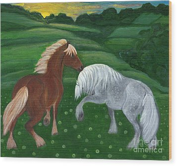 Horses Of The Rising Sun Wood Print by Anna Folkartanna Maciejewska-Dyba