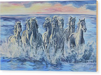 Horses Of The Sea Wood Print by Jana Goode