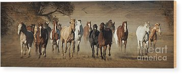 Horses Running Free Wood Print by Heather Swan