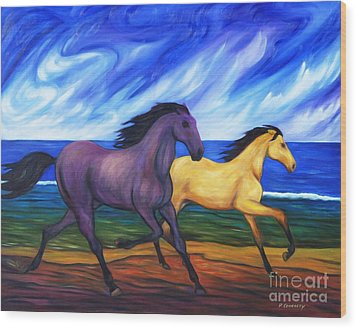 Horses Running On The Beach Wood Print