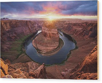 Horseshoe Bend Mega Sunset Wood Print