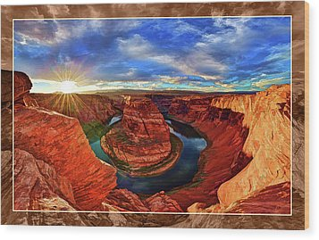 Wood Print featuring the photograph Horseshoe Bend Sunset by ABeautifulSky Photography