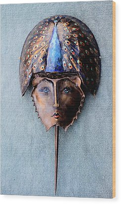 Horseshoe Crab Mask Peacock Helmet Wood Print by Roger Swezey