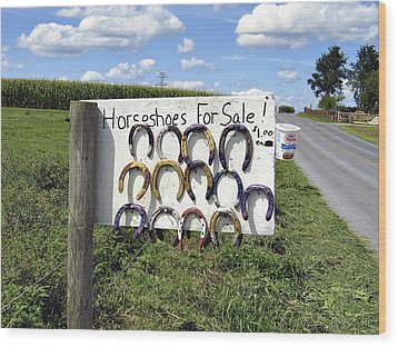 Horseshoes For Sale Wood Print