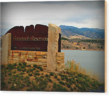 Horsetooth Peak Above The Reservoir Wood Print