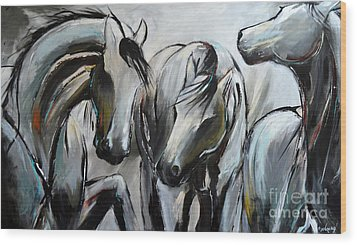 Horsin' Around Wood Print by Cher Devereaux