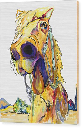 Horsing Around Wood Print by Pat Saunders-White