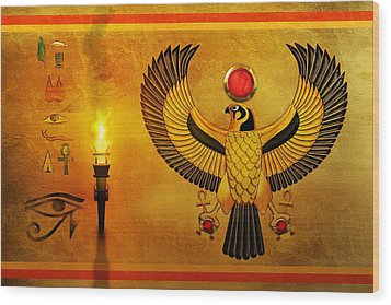 Horus Falcon God Wood Print