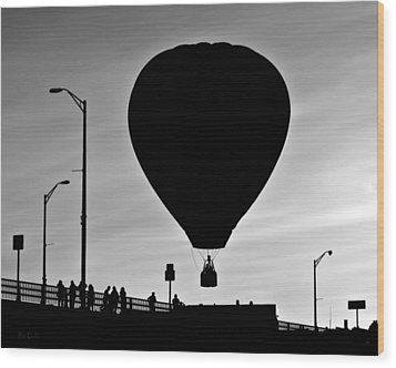Hot Air Balloon Bridge Crossing Wood Print by Bob Orsillo