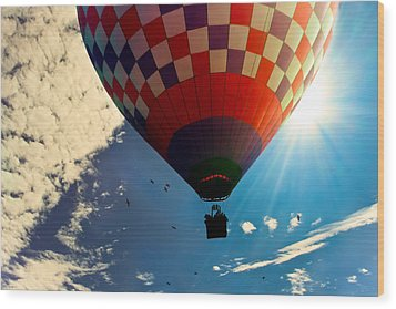 Hot Air Balloon Eclipsing The Sun Wood Print by Bob Orsillo
