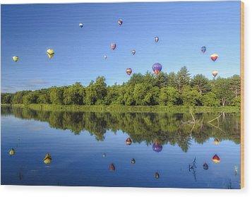 Quechee Balloon Fest Reflections Wood Print
