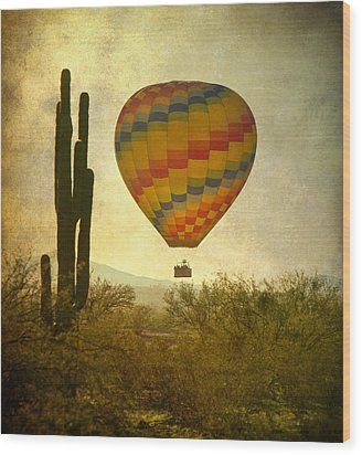 Hot Air Balloon Flight Over The Southwest Desert Wood Print by James BO  Insogna