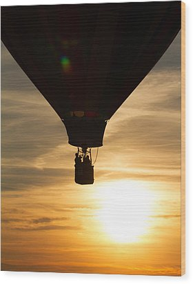 Hot Air Balloon Sunset Silhouette Wood Print