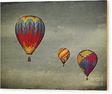 Hot Air Balloons Wood Print by Elena Nosyreva