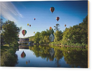 Hot Air Balloons In Queechee 2015 Wood Print