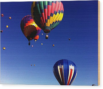 Hot Air Balloons Wood Print by Jera Sky