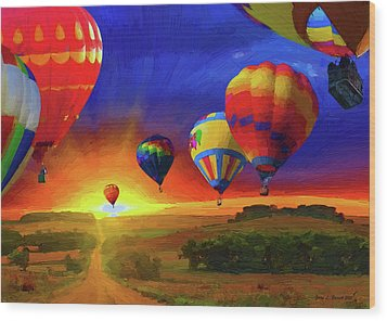 Hot Air Balloons Wood Print by Jerry L Barrett
