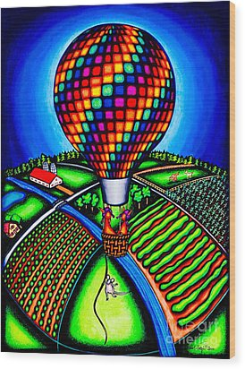 Hot Air Kats Wood Print by Laurie Tietjen