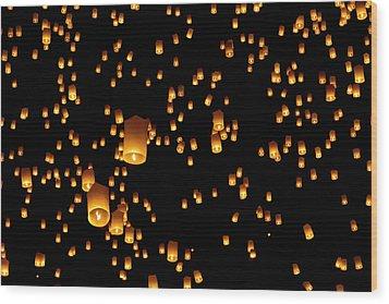 Hot Air Lanterns In Sky Wood Print by Daniel Osterkamp