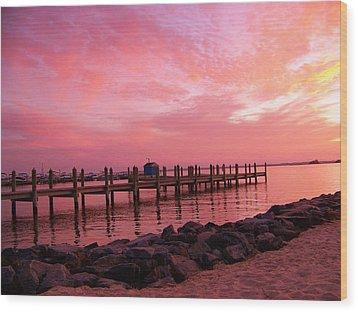 Hot Bay Sunset Wood Print by Trish Tritz