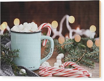 Wood Print featuring the photograph Hot Cocoa With Marshmallows And Candy Canes by Stephanie Frey