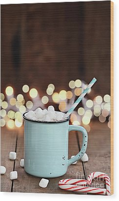 Wood Print featuring the photograph Hot Cocoa With Mini Marshmallows by Stephanie Frey