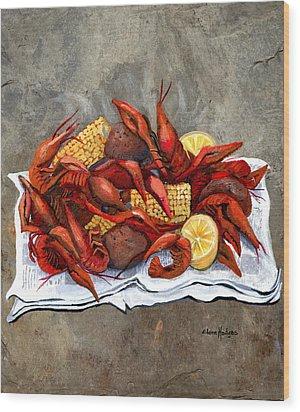 Hot Crawfish Wood Print by Elaine Hodges