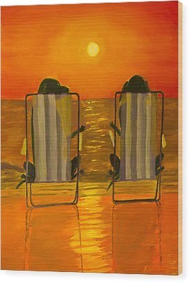 Hot Day At The Beach Wood Print by Roger Wedegis