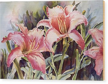 Hot Lillies Wood Print