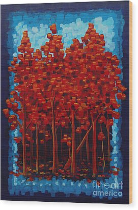 Wood Print featuring the painting Hot Reds by Holly Carmichael