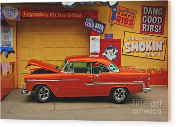 Hot Rod Bbq Wood Print by Perry Webster