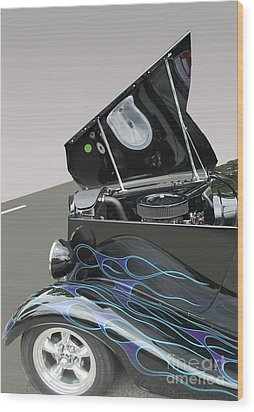 Wood Print featuring the photograph Hot Rod With Flames by Bill Thomson