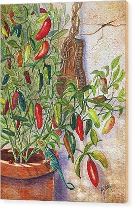 Wood Print featuring the painting Hot Sauce On The Vine by Marilyn Smith
