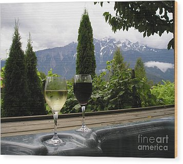 Hot Tub And Wine Wood Print