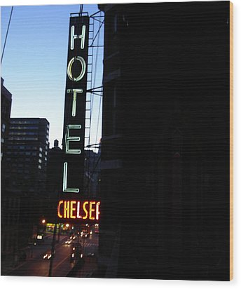 Hotel Chelsea Wood Print by Xavier Wasp