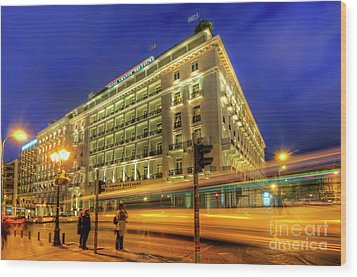 Wood Print featuring the photograph Hotel Grande Bretagne - Athens by Yhun Suarez