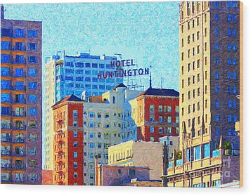 Hotel Huntington Wood Print by Wingsdomain Art and Photography
