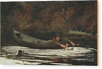 Hound And Hunter Wood Print by Winslow Homer
