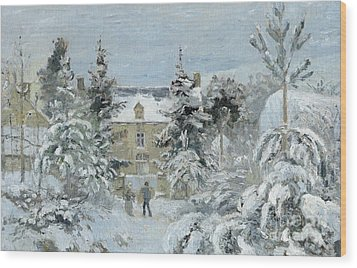 House At Montfoucault Wood Print by Camille Pissarro