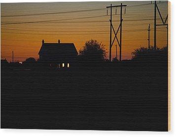 House At Sunset Wood Print by Paul Kloschinsky