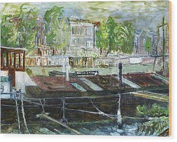 House Boat In Amsterdam Wood Print by Joan De Bot