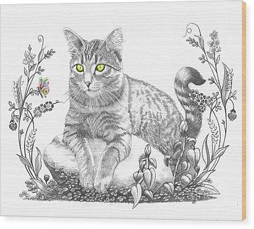 House Cat Wood Print by Murphy Elliott
