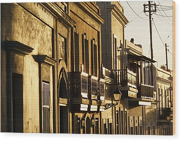 House Facades Gilded By The Setting Sun Old San Juan Puerto Rico Wood Print by George Oze