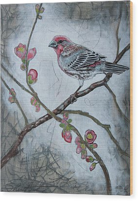 Wood Print featuring the mixed media House Finch by Sheri Howe