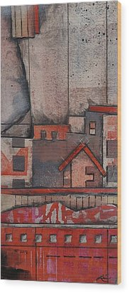 House In The City  Wood Print