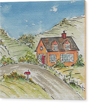 House In The Country Wood Print by Pat Katz