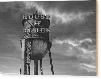 Wood Print featuring the photograph House Of Blues B/w by Laura Fasulo