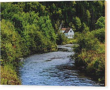 House On Margaree River Wood Print by Ken Morris